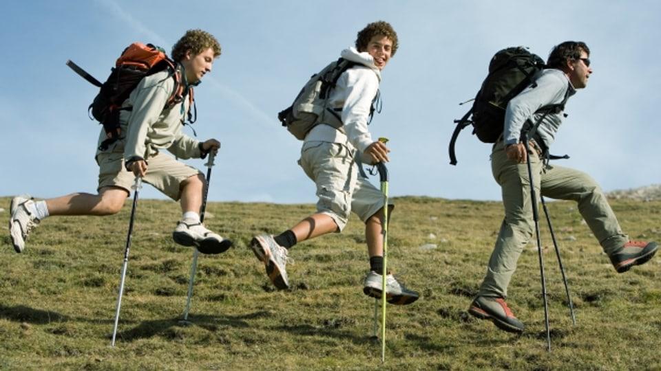 Gehören bei vielen Wanderern zur Grundausrüstung: Wanderstöcke.