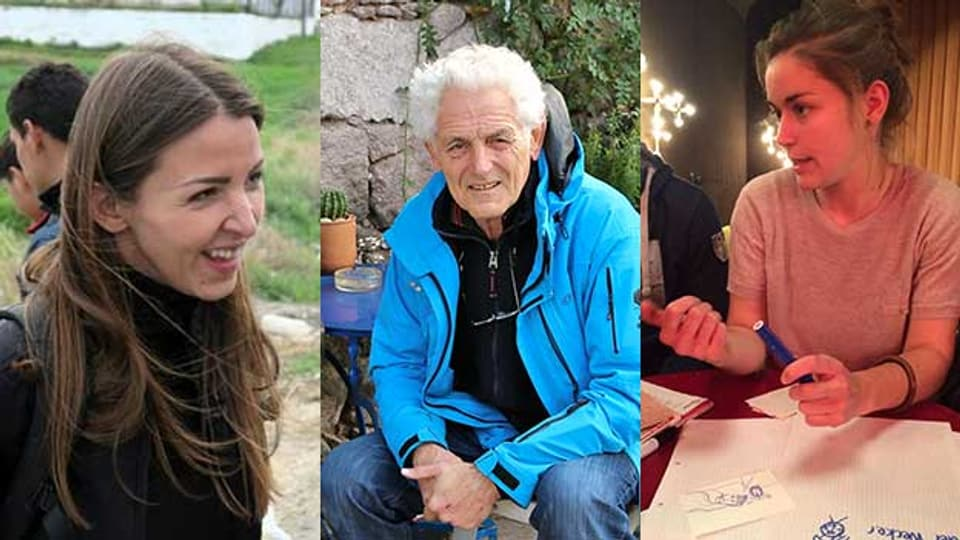 Drei Flüchtlingshelfer im Porträt: Vanja Crnojevic, Florenz Schaffner und Lea Stirnimann (von links).