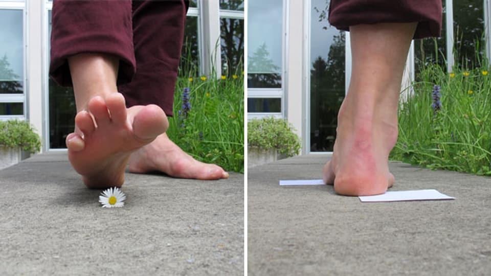 Übungen: So bringen Sie das Quergewölbe des Fusses hin (Bild 1) und das Fersenbein wieder ins Lot (Bild 2).
