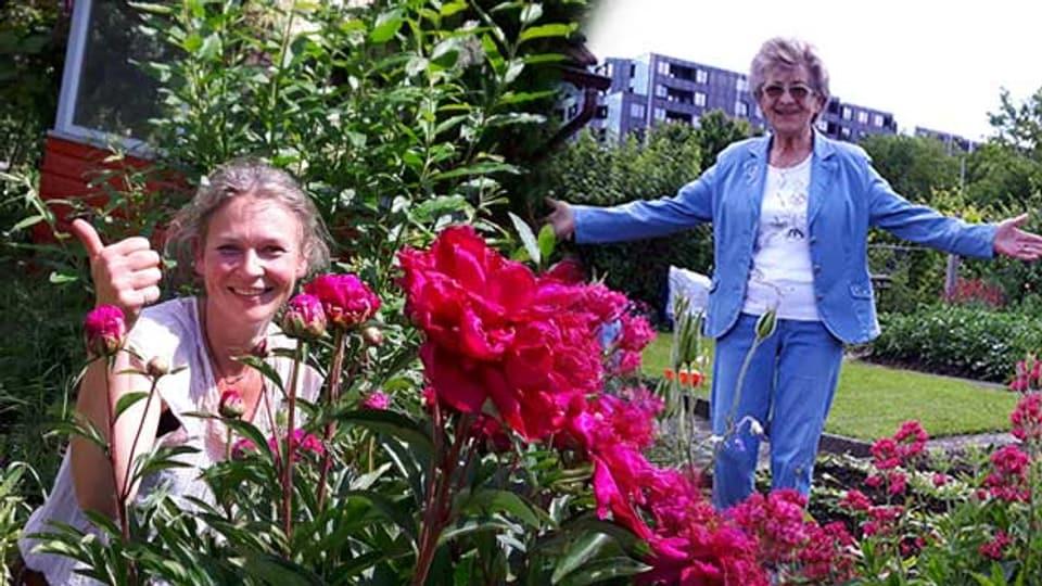 Zwei Generationen, eine Leidenschaft: Andrea Violi und Josy Hochuli in ihrem Familiengarten mitten in Zürich.