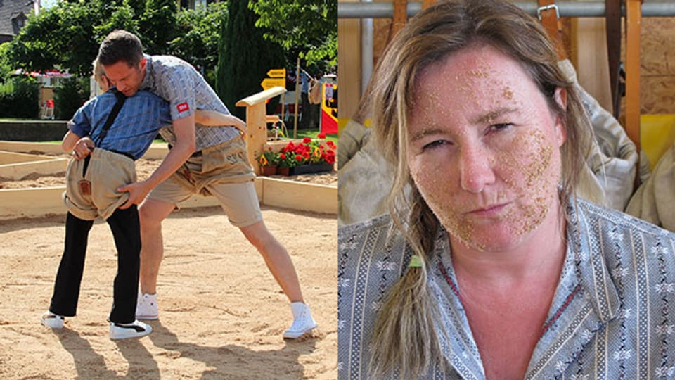 Wenn Moderatoren ins Sägemehl fallen: Christina Lang und Adi Küpfer.