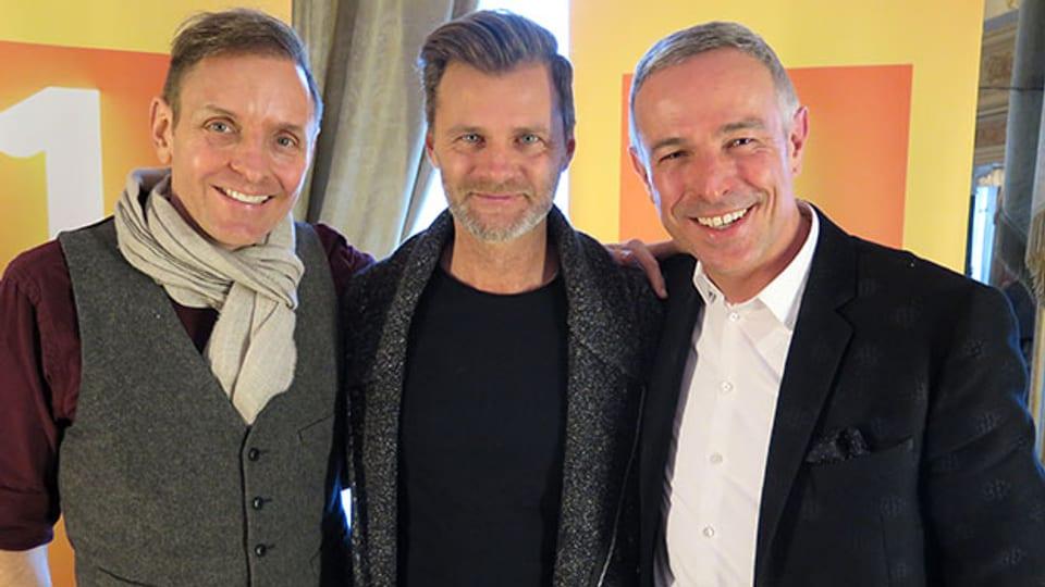 Drei Männer im «Persönlich»: Gastgeber Dani Fohrler (rechts) mit Pat Perry (links) und Alain Sutter.