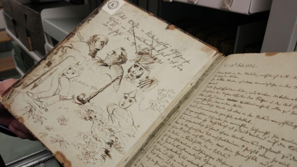 Handschriftliche Notizen und Skizzen von Gottfried Keller.
