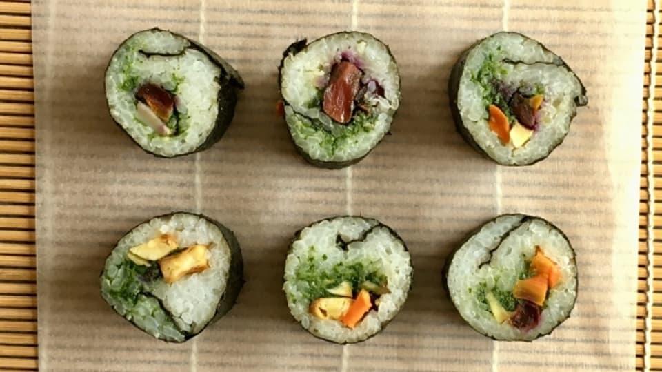 Sushi mit Ofen-Gemüse - schmeckt mindestens so gut wie Sushi mit rohem Fisch.