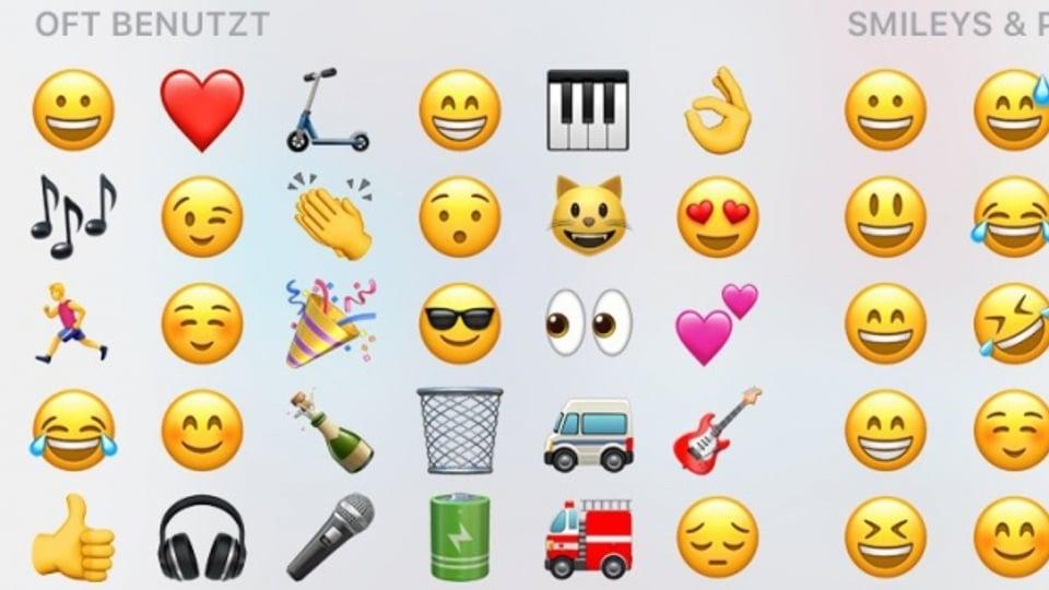 Die persönlich am meist genutzten Emojis erscheinen auf dem Display zuerst.