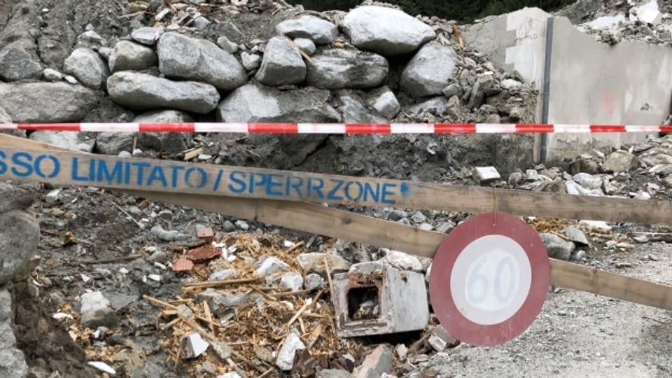 Betreten verboten: Gefahrenzone Auffangbecken im bündnerischen Bondo