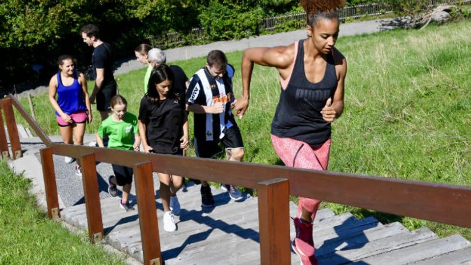 Ob Fussgänger, Sportler oder Spitzensportlerin: Die Treppen in St.Gallen sind Trainingsgerät und Verbindungsstrecke in einem.