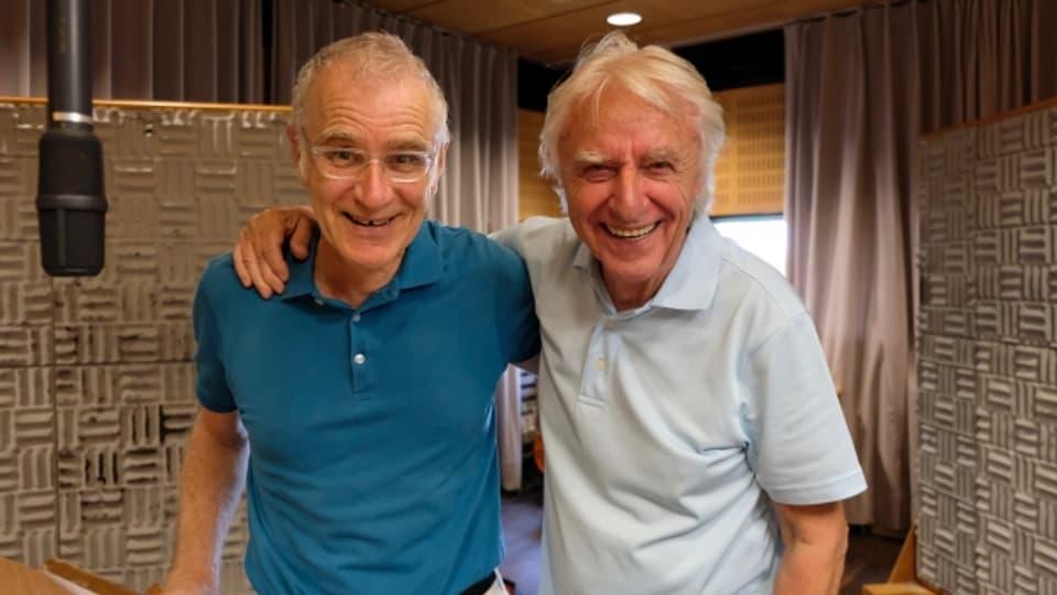Joachim Rittmeyer und Emil Steinberger während den Aufnahmen im Hörspiel-Studio Brunnenhof in Zürich