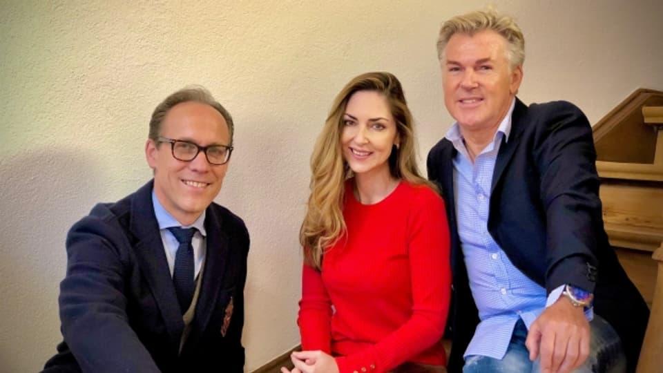 Gastgeber Christian Zeugin mit Tamara Wernli und Martin Zumkeller