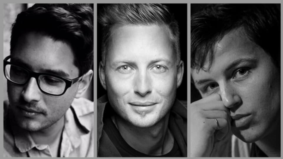 Ihre Musik wird Farbe in die Sendung bringen: Emanuel Reiter, Nils Burri und Liam Maye (v.l.n.r.)