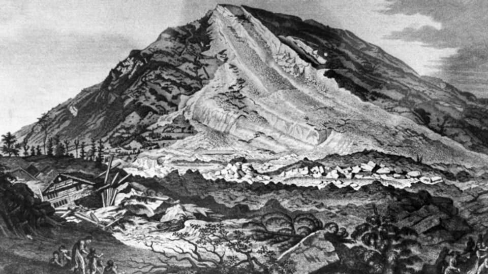 Dreienhalb Minuten dauerte der Bergsturz, danach herrschte Totenstille. 457 kamen in den Schuttmassen ums Leben.