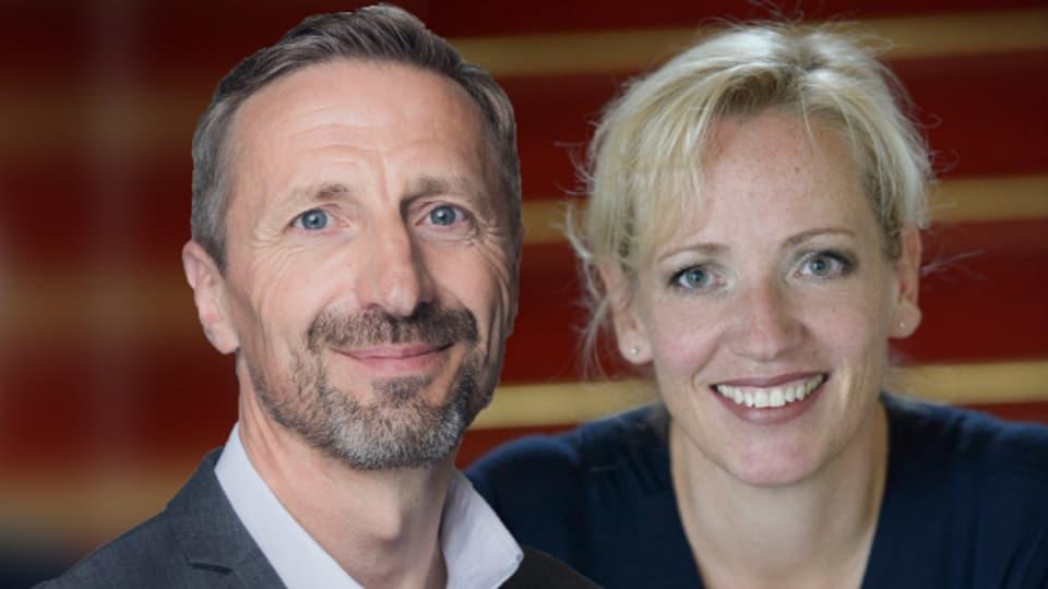 Glücksforscher Sigmar Willi und Opernsouffleuse Heike Behrens.