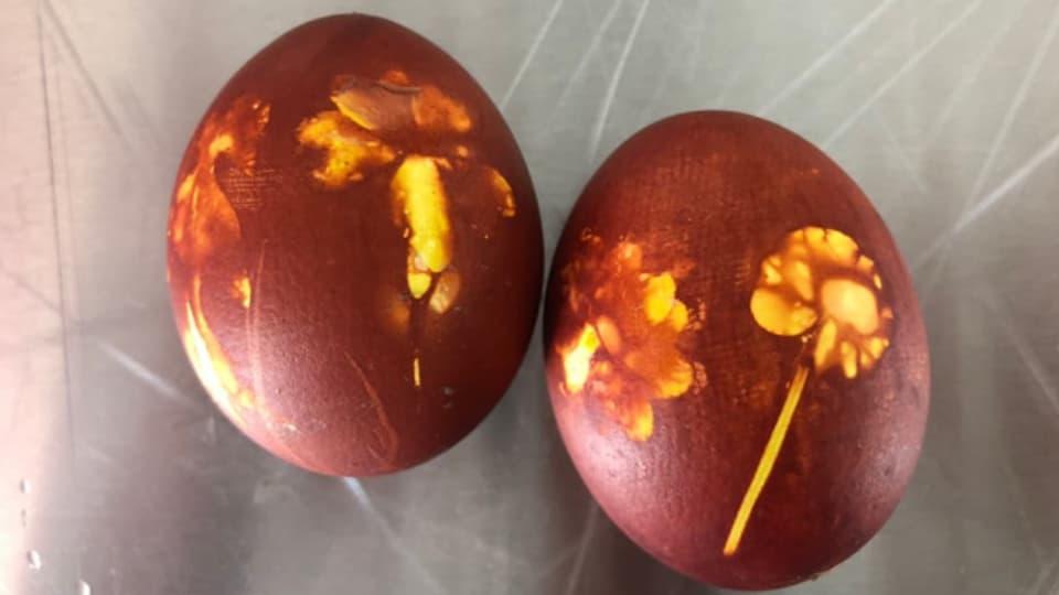Ostereier mit Motiven aus dem eigenen Garten.