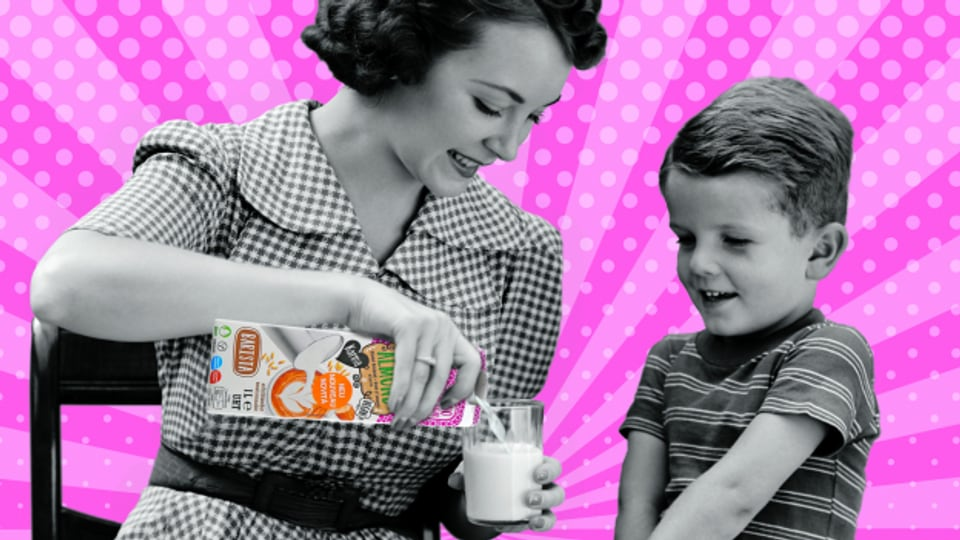 Werbung für Mandelmilch.
