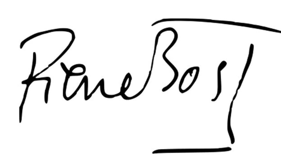 Unterschrift des französischen Romanciers Pierre Bost.