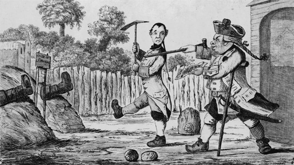 Onkel Toby und Korporal Trim stellen im Garten Feldzüge nach. Illustration von Henry William Bunbury, 1773.