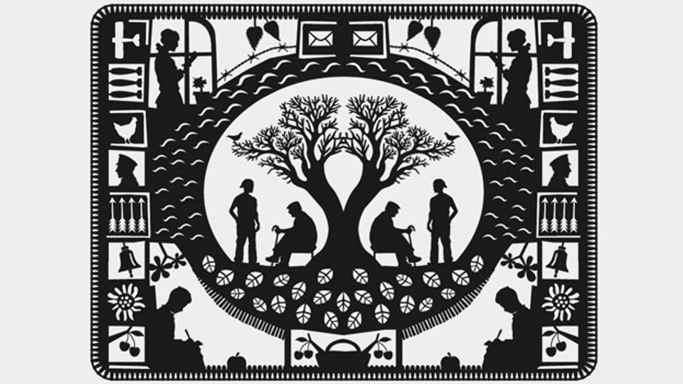 Scherenschnitt mit zwei Menschen unter einem Baum