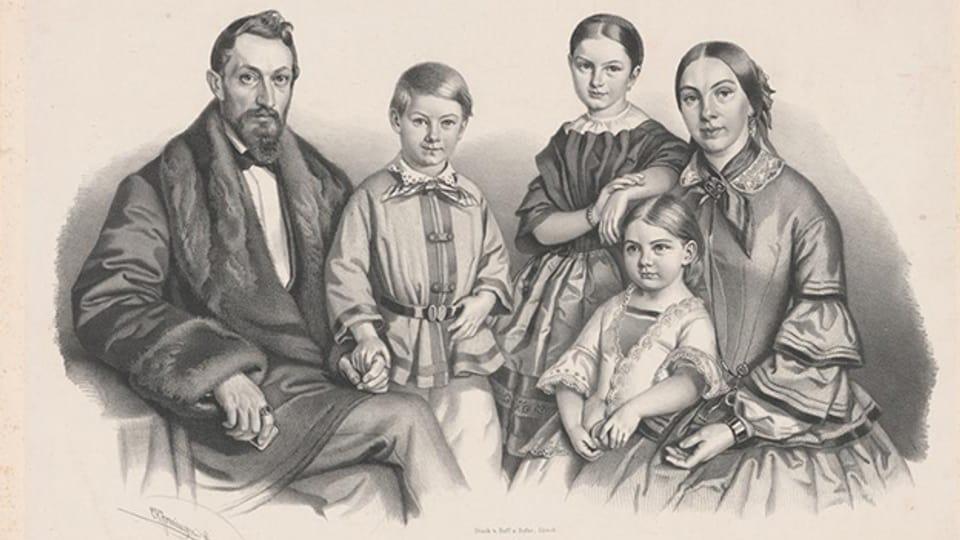 Bild einer Zürcher Familie, Lithographie ca. 1860.