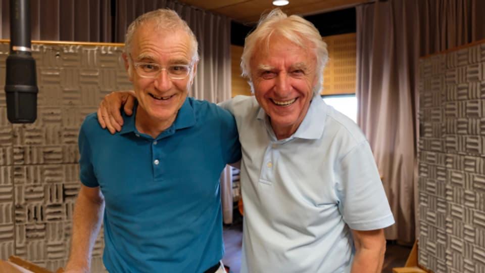 Joachim Rittmeyer und Emil Steinberger im Hörspielstudio.