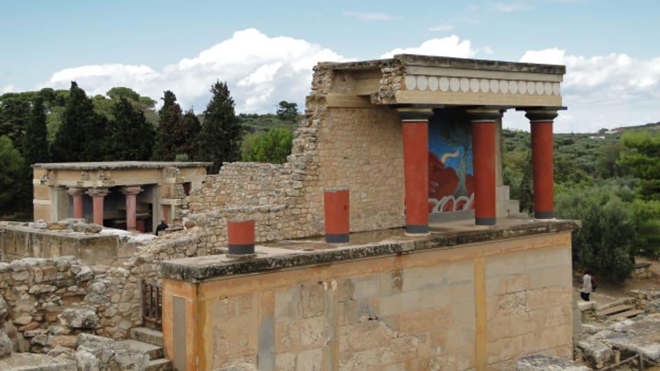 Rekonstruktion des Palasteingangs von Knossos auf Kreta.