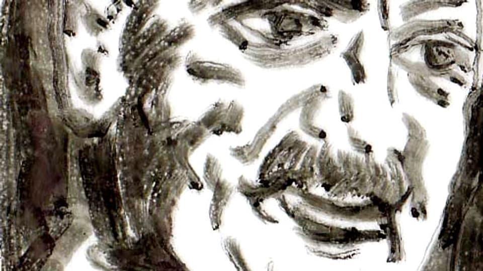 Pinselzeichnung, die Martin Heidegger darstellt, von Herbert Wetterauer, frei gestaltet nach einer Fotografie von Fritz Eschen.