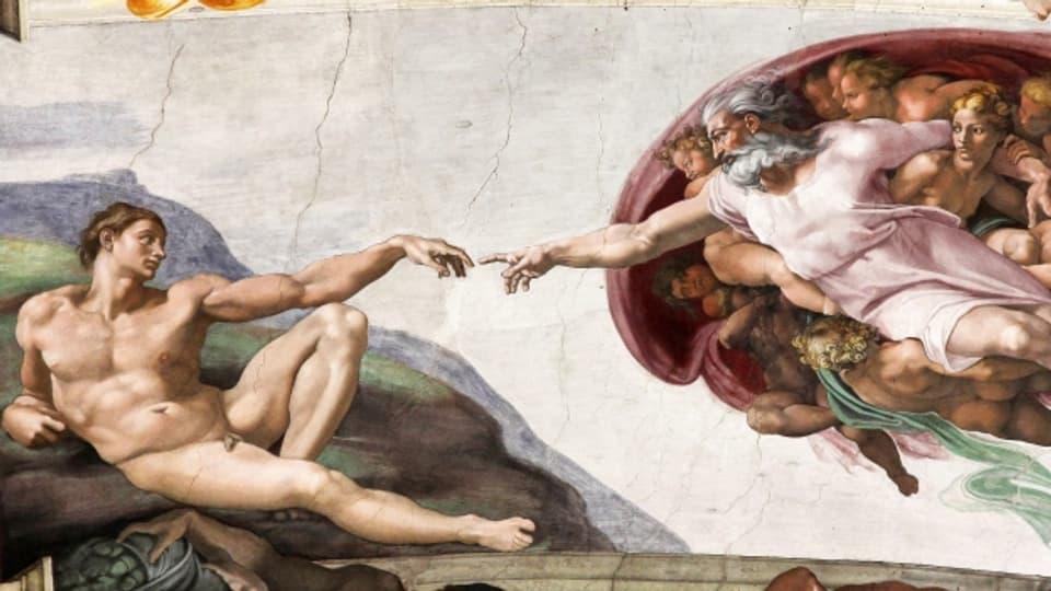 Gemälde: Ein nackter Jüngling und ein bärtiger Mann strecken ihre recht hand so zueinander aus, dass sich die Zeigefinger fast berühren.