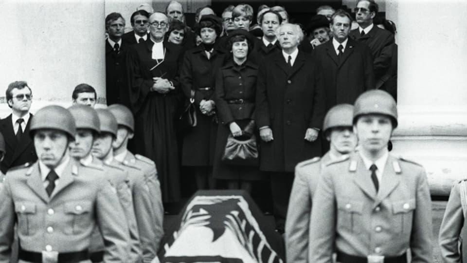 Die Trauerfeier des Generalbundesanwalt Siegfried Buback, sechs Tage nach dem tödlichen Attentat.