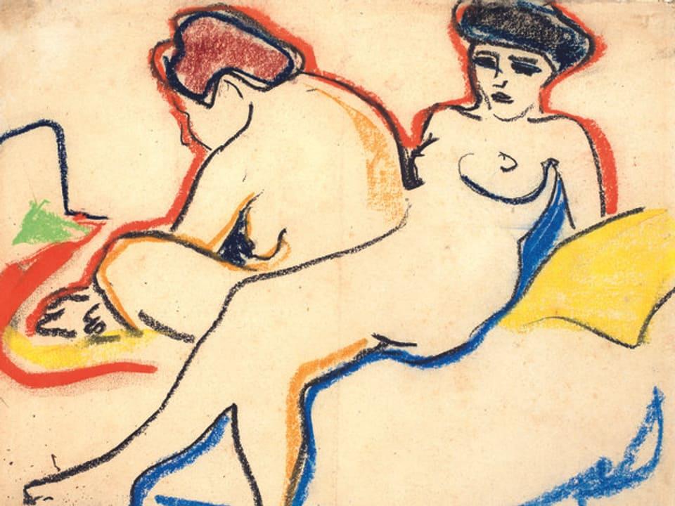 Ernst Ludwig Kirchner, Zwei Akte auf einem Lager, 1905. Schwarze Kunstkreide und Farbkreiden auf Papier
