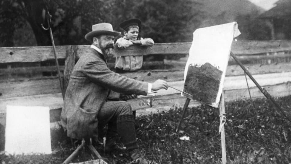 Ferdinand Hodler bei der Arbeit um 1916