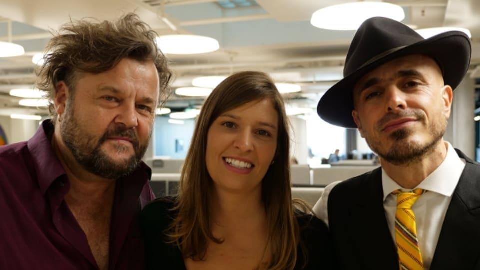 Die Diskussionsrunde: Büne Huber, der Kopf von Patent Ochsner, die Singer/Songwriterin Martina Linn und der Musiker Dodo, der Steff La Cheffe und Lo & Leduc produziert hat.