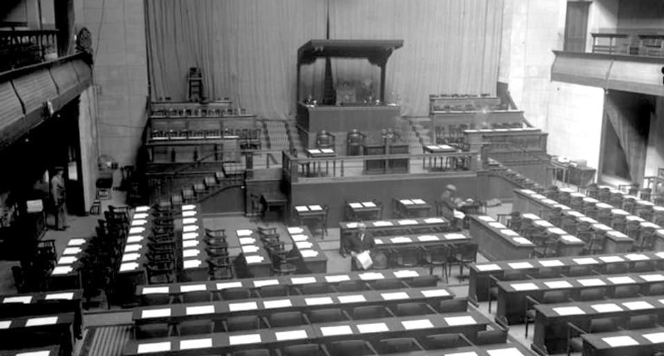 Der Sitzungssaal des Völkerbundes in Genf, 1928