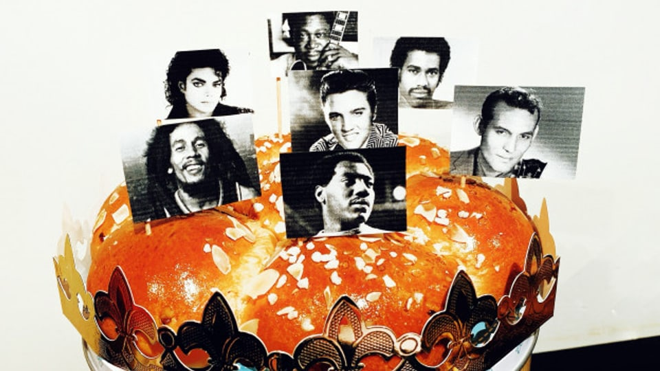 Einige Kings of Music: Elvis Presley, Michael Jackson, Bob Marley, Carl Perkins, Kurtis Blow und B.B. King