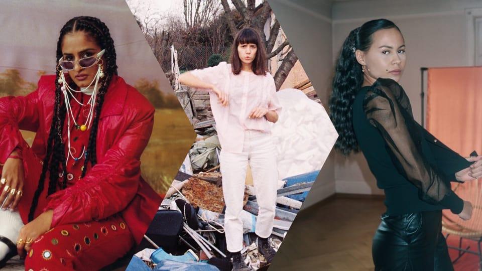Die neuen Songs kommen heute von ausschliesslich MusikerINNEN: Priya Ragu, Anna Erhard und Mercee (v.l.n.r.)