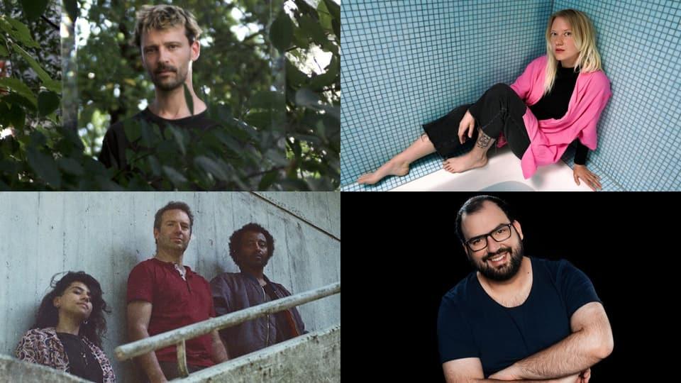 5 Musiker:innen aus der CH Beats-Playlist – und ein Hochstapler am DJ-Pult: Belia Winnewisser, Luca Bruno, AMAMI und Angelo Repetto (UZS)