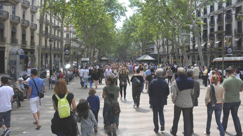 Las Ramblas, die Promenade im Zentrum von Barcelona, im 2015.