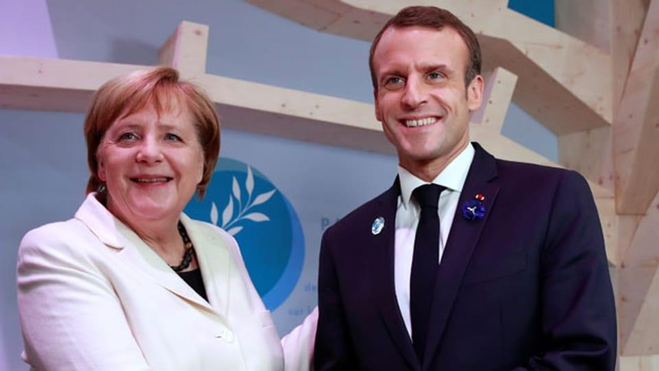 Bundeskanzlerin Angela Merkel und Frankreichs Präsident Emmanuel Macron.