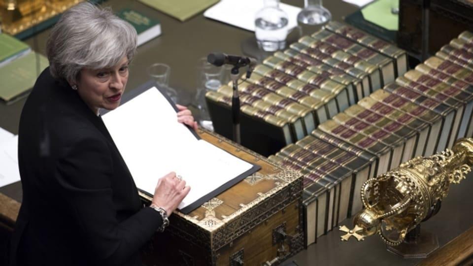 Premierministerin Theresa May bei ihrer Parlamentsansprache vor der Brexit Abstimmung.