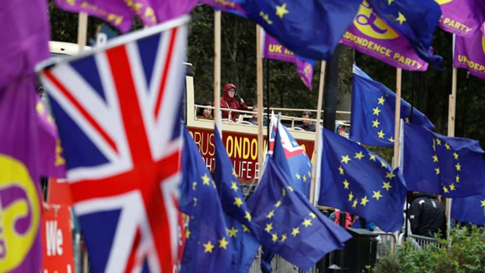 Demonstranten vor den Houses of Parliament in Westminster in London am 9. September 2019.