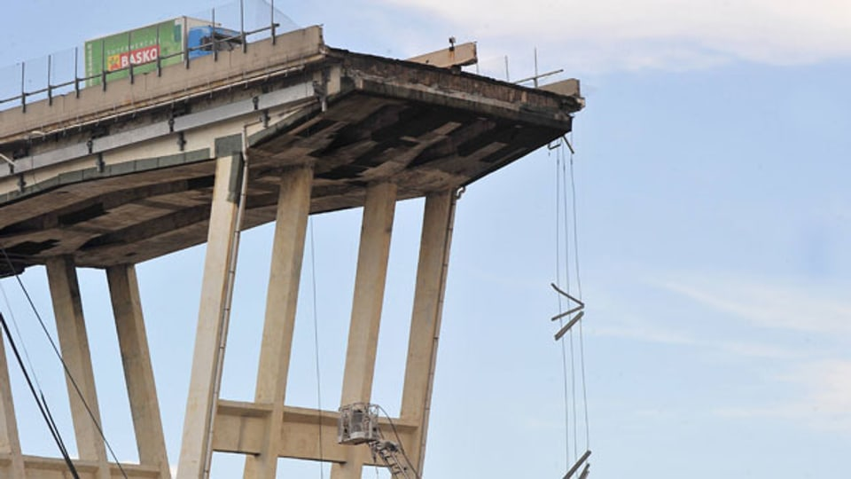Die eingestürzte Morandi-Brücke in Genua, Italien, 9. Februar 2019.
