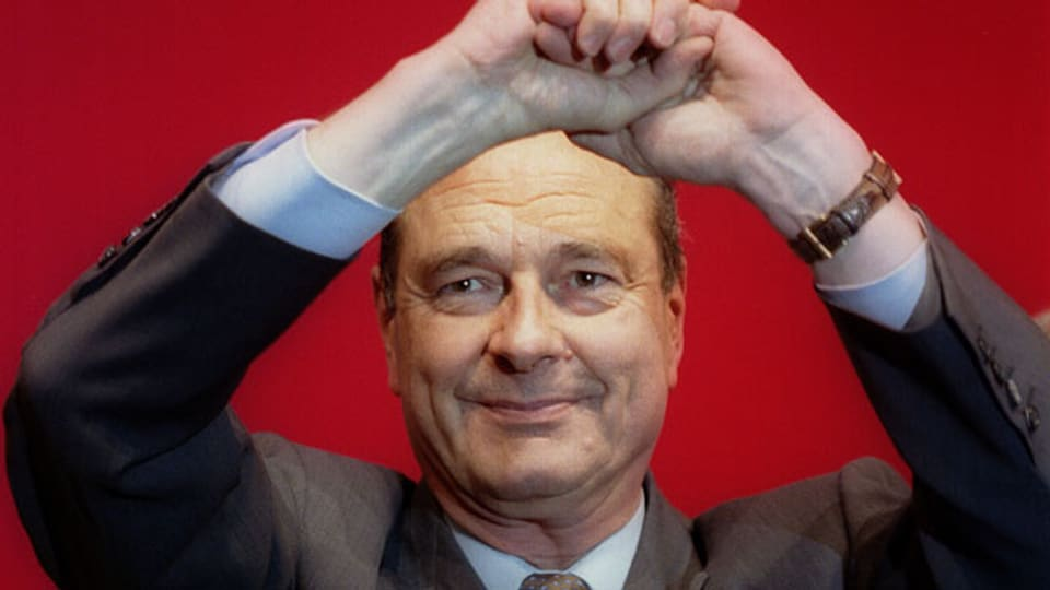 Jacques Chirac als Präsidentschaftskandidat in Nantes am 18. April 1995.