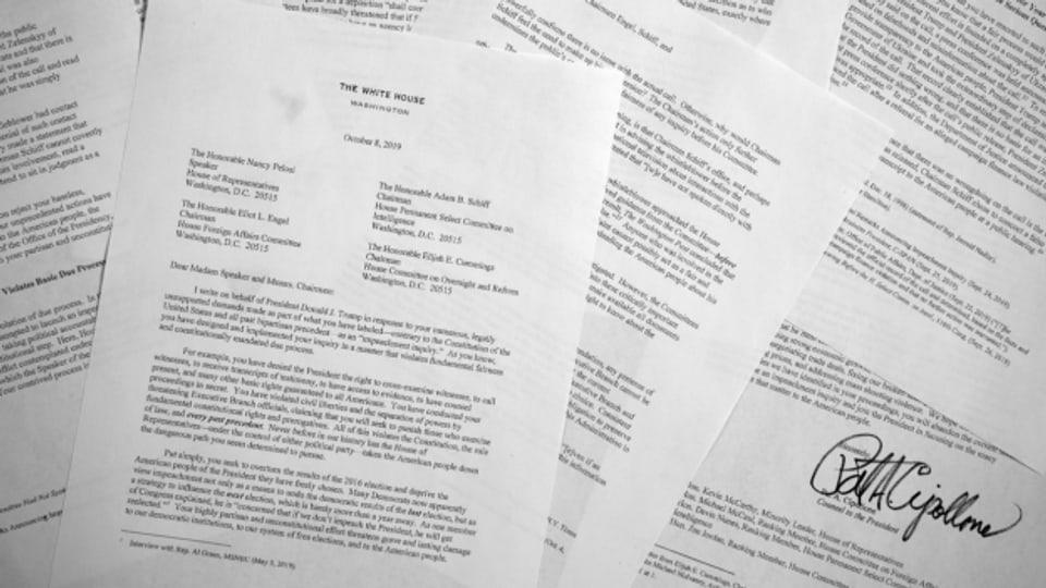 Der 8-seitige Brief von Pat Cipollone, dem Chef-Juristen von US-Präsident Trump.