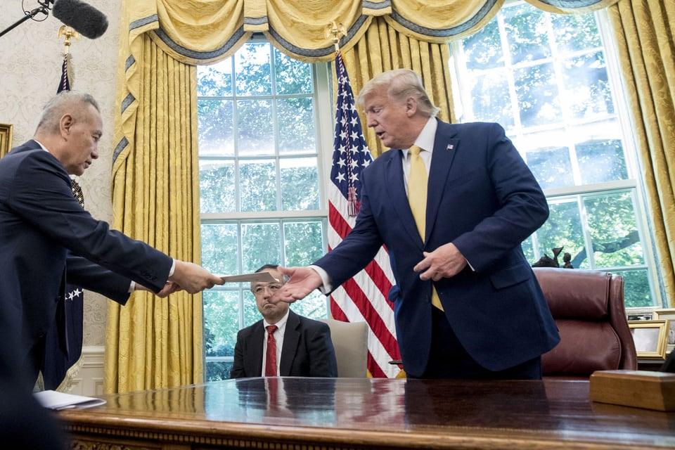US-Präsident Trump und der chinesische Vize-Premier Liu He