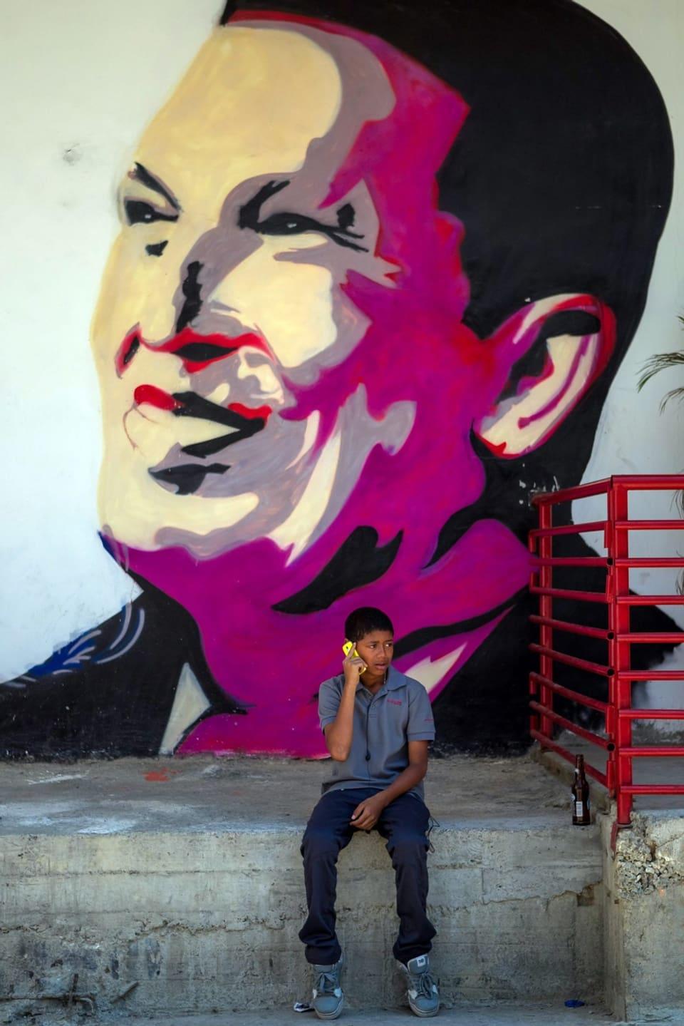 Graffiti des sozialistischen Präsidenten Maduro