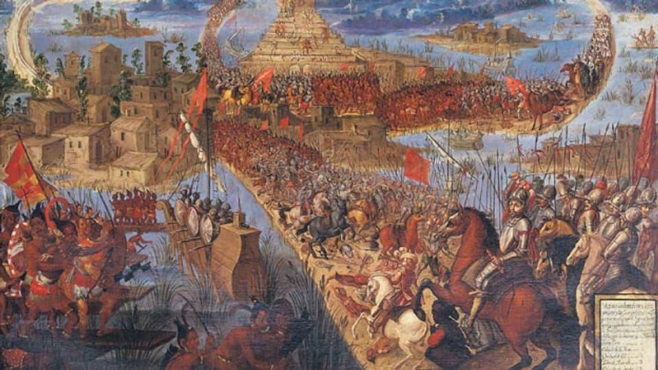 Anonymes Gemälde der Schlacht um Tenochtitlan aus der zweiten Hälfte des 17. Jahrhunderts.