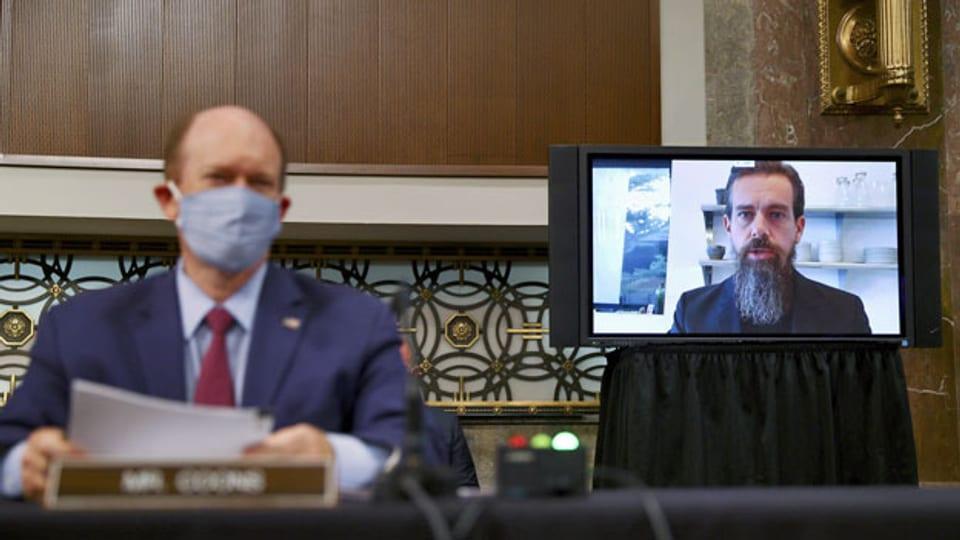 Jack Dorsey, der CEO von Twitter, an einer Anhörung des Justizausschusses des US-Senats per Videokonferenz.