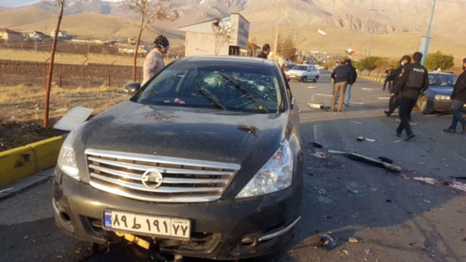 Das zerstörte Auto des Atomphysikers Mohsen Fachrisadeh.