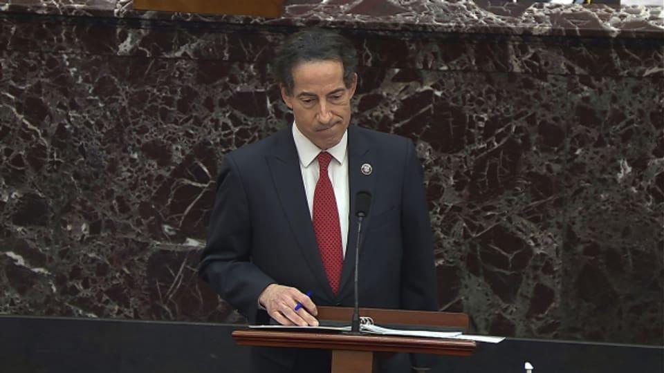 Chefankläger im US-Parlament, Jamie Raskin, während der Diskussion zum neuen Impeachment