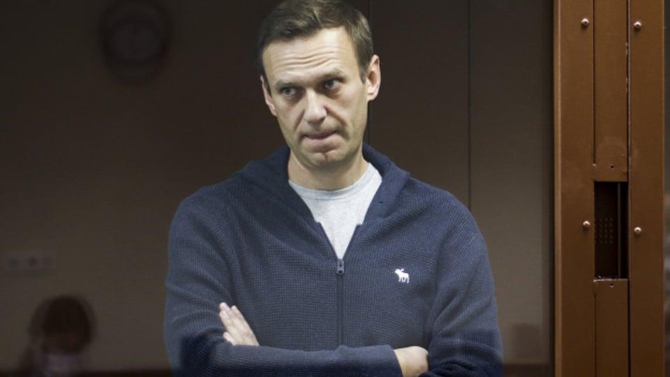Der Regierungskritiker Alexej Nawalny beim Gerichtsprozess.