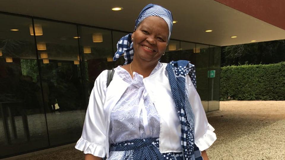 Haydie im Koto. Sie ist die Ur-Ur-Enkelin einer Leibeigenen aus Surinam.
