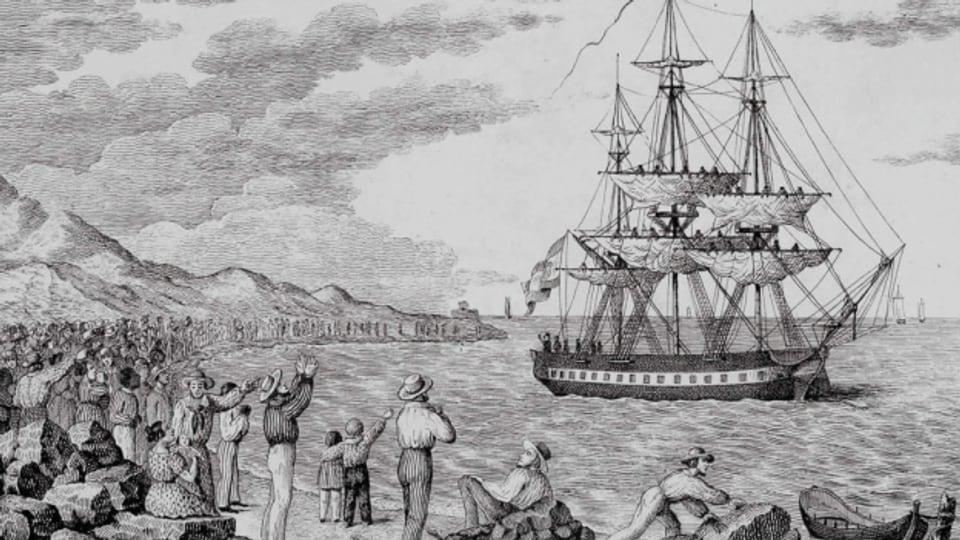Die Korvette María Pita verlässt den Hafen von A Coruña 1803. Gravur nach Francisco Pérez um 1800.
